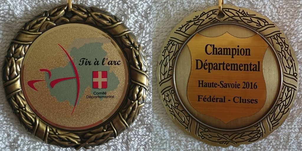 La médaille de Champion Départemental de Tir Fédéral